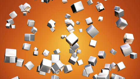 Broadcast Falling Hi-Tech Cubes, Orange Golden, Corporate, Loopable, 4K Animation