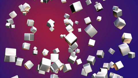 Broadcast Falling Hi-Tech Cubes, Purple Red, Corporate, Loopable, 4K Animation