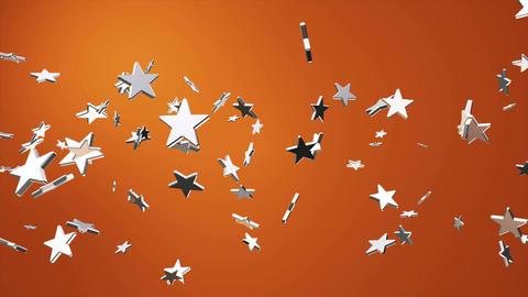 Broadcast Flying Hi-Tech Stars, Orange Golden, Events, Loopable, 4K Animation