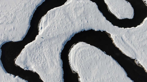 Aerial Winding River Winter Image