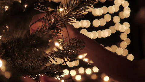 Woman decorating the lights on a Christmas tree with bokeh lights background Live Action