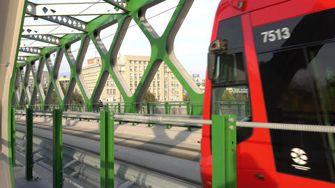 Tram driving through the bridge in Bratislava Footage