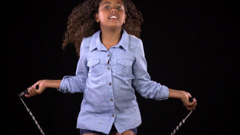 Cute Girl Jumping Rope In Slow Motion Footage