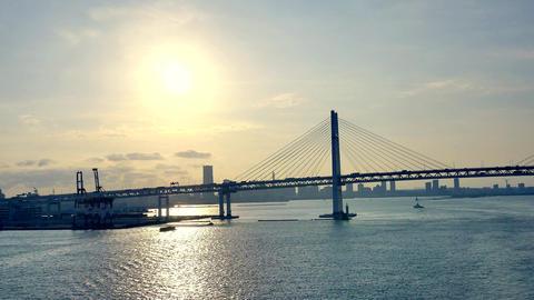 wide shot of cruise ship arriving at Japan aburatsu port of miyazaki prefecture Live Action