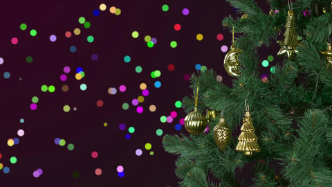 Abstract background Christmas celebrate. Christmas holiday eve. Green fir tree Footage