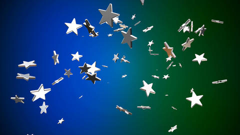 Broadcast Flying Hi-Tech Stars, Blue Green, Events, Loopable, 4K Animation