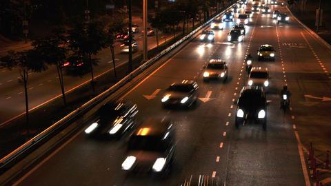 Cars moving on busy roads at night, Kuala Lumpur, Malaysia Footage