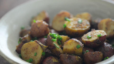Delicious roasted potatoes footage Live Action