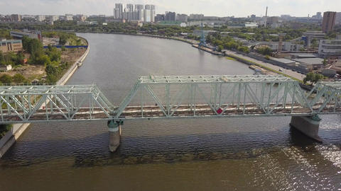 Aerial of Danilovsky Bridge across the Moskva River in Moscow. Camera slowly Footage