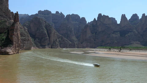 Boat On Yellow River In Gansu Province China Asia ビデオ