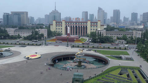High Angle View Of Tianfu Square In Chengdu China Asia Archivo