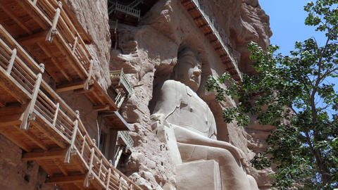 Bingling Temple With Buddhist Sculpture Carved Into Cave In China Image