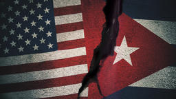 United States vs Cuba Flags on Cracked Wall Animation