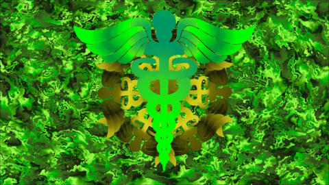 Green Sign Caduceus with rotating pattern from this sign on an abstract Animation
