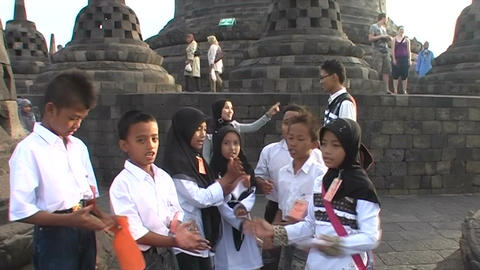 Borobudur Temple, singing children Footage