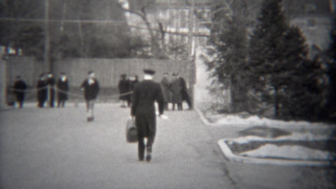 1943: Military man leaving base to go overseas joining World War 2 battles Footage