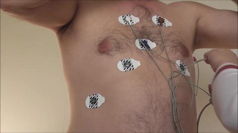 Heart Examination Installation Sensors stock footage