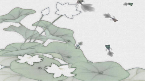 Ink brush painting animation China lotus goldfish Animation