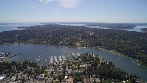 ULTRA HD 4K Aerial View. Flight Over Eagle Harbor Marina - Bainbridge Island, US stock footage