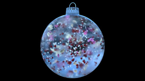 Christmas Rotating Blue Ice Glass Bauble Decoration colorful alpha matte loop Bild