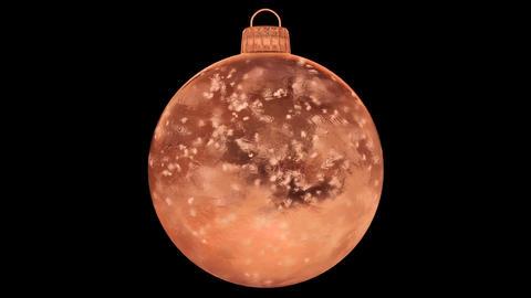 Christmas New Year Orange Ice Glass Bauble Decoration snow alpha matte loop 4k Animation