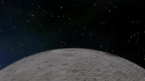 Moon orbiting through space Stock Video Footage
