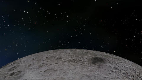 Moon orbiting through space CG動画素材