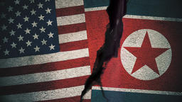 United States vs North Korea Flags on Cracked Wall Animation