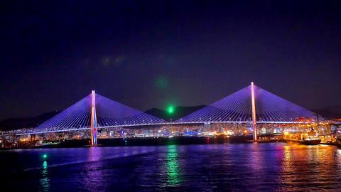 wide shot of cruise ship arriving at Japan aburatsu port of miyazaki prefecture Footage
