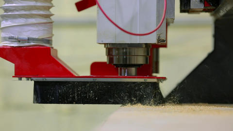 Close-up, milling machine automatically moves on the surface of the wood and Footage