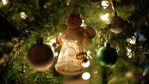 Christmas decoration on Christmas tree with illuminated bokeh lights Footage