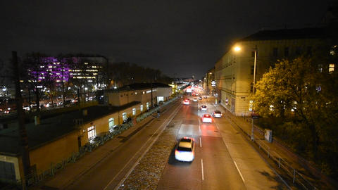 Nightly traffic in Vienna Footage