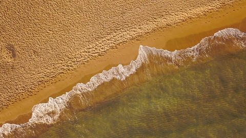Top view of a deserted beach at sunset. Greek coast of the Ionian Sea Archivo