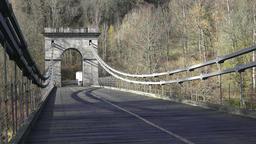 Chain Bridge is a suspension bridge on the river Vltava, Czech Republic Footage