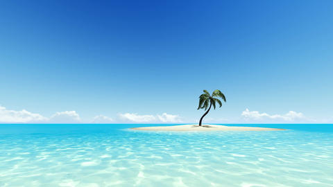 Tropical island with one palm tree and clear sky ビデオ