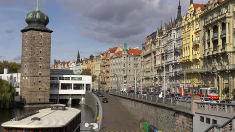 Prague, Czech Republic - OCTOBER, 2017: Architecture and traffic in Prague Footage