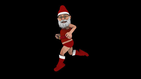 Jogging Santa Claus - Side View - Transparent Loop Animation