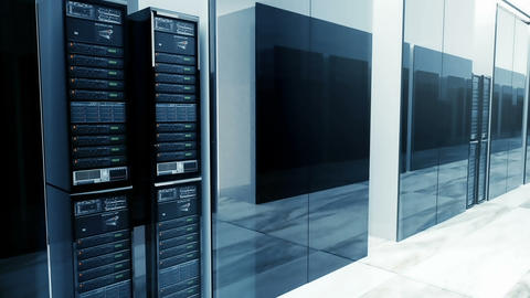 Data Servers In Server Room Looping. Video can represent information storage Animation