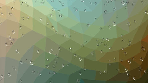 Rain drops running down the glass, polygonal abstract animated background in Image