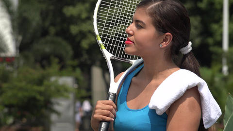 Serious Teen Female Tennis Player Live Action