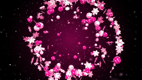 Abstract christmas and new year romantic background with flying xmas balls CG動画素材