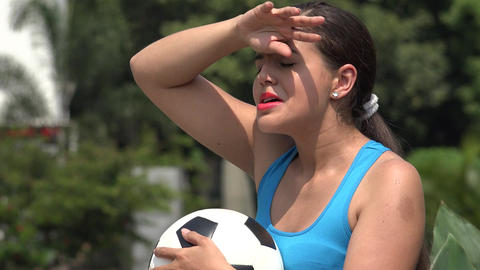 Tired Young Female Soccer Player Live Action