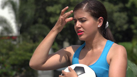 Stressed Young Female Soccer Player Footage