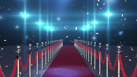 Flight on the red carpet with flying confetti Animation