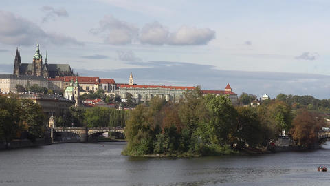 View of the Old Town architecture with red roofs in Prague , Czech Republic. St GIF