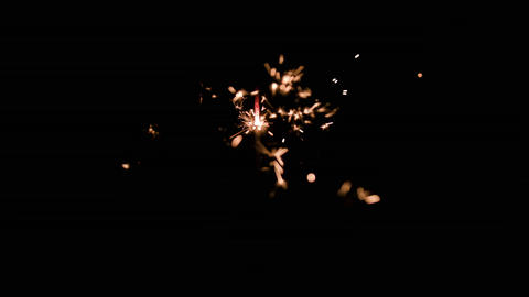 Magic Glowing Flow of Sparks in the Dark Footage
