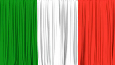 Realistic 3D animation of the National flag of Italy as the curtain Animation