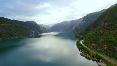 Aerial view of the landscape of Norway Footage