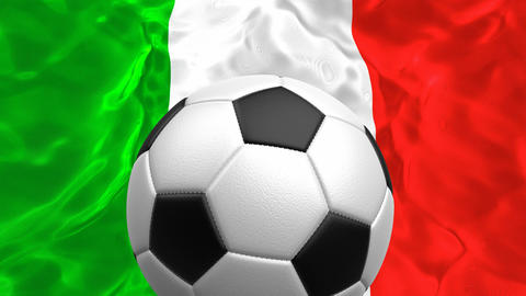 3D looping animation of the soccer ball rotating against the flag of Italy Animation