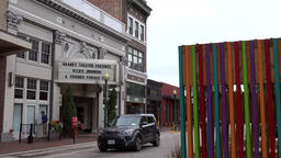 USA Virginia Norfolk entrance of Granby Theater with colorful wall Bild